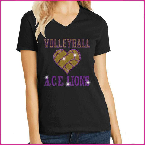 OCPS ACE Volleyball Spangle Rhinestone Shirt- youth and ladies-multiple colors available, short or long sleeve Schools Becky's Boutique Womens Extra-small Womens short sleeve V-neck Purple