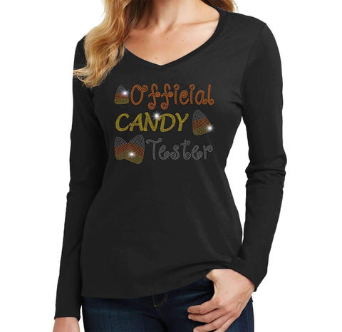 Official Candy Tester-Halloween - Ladies Long Sleeve V-Neck Ladies Long Sleeve V-neck Becky`s Boutique Extra Small