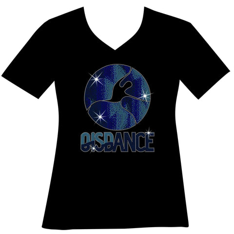 OIS Holographic Spangle Bling Ladies Short Sleeve V-Neck in Royal Blue, Grey, Navy Blue and White-Short Sleeve V-Neck-Becky's Boutique-XS-Black-Beckys-Boutique.com