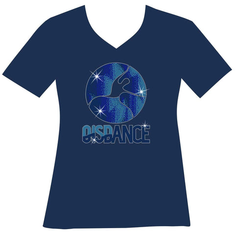 OIS Holographic Spangle Bling Ladies Short Sleeve V-Neck in Royal Blue, Grey, Navy Blue and White-Short Sleeve V-Neck-Becky's Boutique-XS-Navy-Beckys-Boutique.com