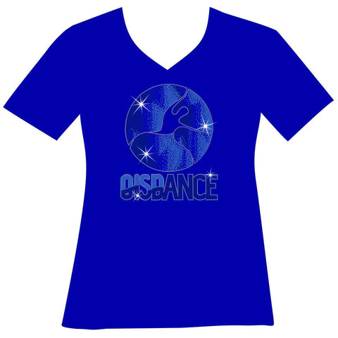 OIS Holographic Spangle Bling Ladies Short Sleeve V-Neck in Royal Blue, Grey, Navy Blue and White-Short Sleeve V-Neck-Becky's Boutique-XS-Royal Blue-Beckys-Boutique.com