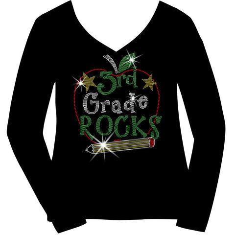 Image of Personalized Grade Rocks! Ladies Holographic Spangle Bling Short Sleeve V-Neck, Long Sleeve V-Neck, Racerback Tank, Unisex Hooded Sweatshirt, Unisex Short Sleeve Crew Neck, Unisex Long Sleeve Crew Neck-LS Shirt, SS Shirt, Racerback tank and hoodie-Becky's Boutique-XS-Long Sleeve V-Neck-Beckys-Boutique.com