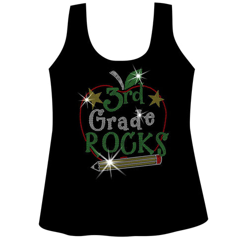 Personalized Grade Rocks! Ladies Holographic Spangle Bling Short Sleeve V-Neck, Long Sleeve V-Neck, Racerback Tank, Unisex Hooded Sweatshirt, Unisex Short Sleeve Crew Neck, Unisex Long Sleeve Crew Neck-LS Shirt, SS Shirt, Racerback tank and hoodie-Becky's Boutique-XS-Racerback Tank-Beckys-Boutique.com