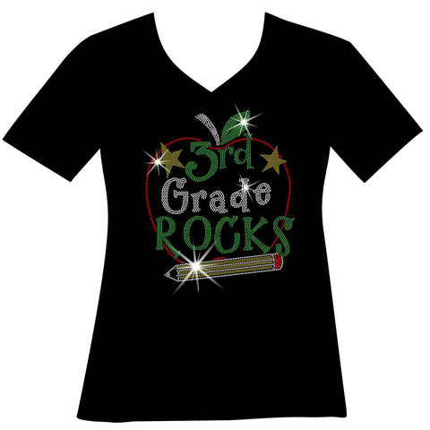 Image of Personalized Grade Rocks! Ladies Holographic Spangle Bling Short Sleeve V-Neck, Long Sleeve V-Neck, Racerback Tank, Unisex Hooded Sweatshirt, Unisex Short Sleeve Crew Neck, Unisex Long Sleeve Crew Neck-LS Shirt, SS Shirt, Racerback tank and hoodie-Becky's Boutique-XS-Short Sleeve V-Neck-Beckys-Boutique.com