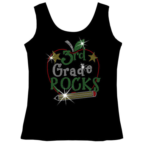 Image of Personalized Grade Rocks! Youth Holographic Spangle Bling, Girls Short Sleeve Crew Neck, Long Sleeve Crew Neck, Girls Tank Top, Youth Hooded Sweatshirt-Youth LS, SS, tank and Hoodie-Becky's Boutique-XS-Girls Tank Top-Beckys-Boutique.com