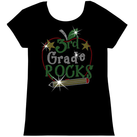 Image of Personalized Grade Rocks! Youth Holographic Spangle Bling, Girls Short Sleeve Crew Neck, Long Sleeve Crew Neck, Girls Tank Top, Youth Hooded Sweatshirt-Youth LS, SS, tank and Hoodie-Becky's Boutique-XS-Girls Short Sleeve Crew Neck-Beckys-Boutique.com