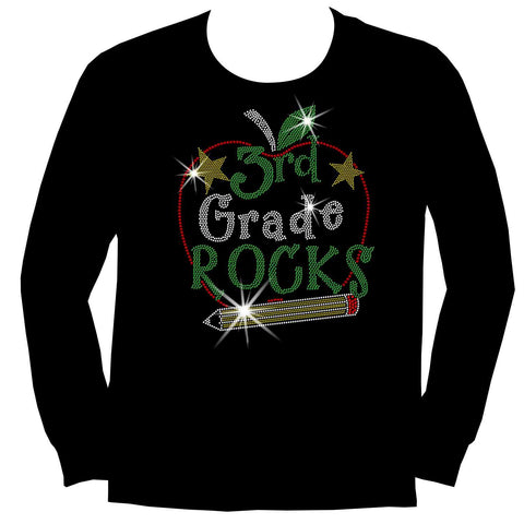 Image of Personalized Grade Rocks! Youth Holographic Spangle Bling, Girls Short Sleeve Crew Neck, Long Sleeve Crew Neck, Girls Tank Top, Youth Hooded Sweatshirt-Youth LS, SS, tank and Hoodie-Becky's Boutique-XS-Long Sleeve Crew Neck-Beckys-Boutique.com