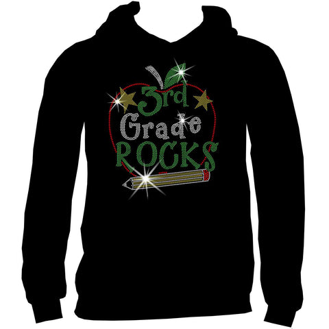 Personalized Grade Rocks! Youth Holographic Spangle Bling, Girls Short Sleeve Crew Neck, Long Sleeve Crew Neck, Girls Tank Top, Youth Hooded Sweatshirt-Youth LS, SS, tank and Hoodie-Becky's Boutique-XS-Youth Hooded Sweatshirt-Beckys-Boutique.com