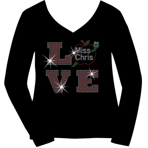 Image of Personalized LOVE Teacher Ladies Holographic Spangle Bling Short Sleeve V-Neck, Long Sleeve V-Neck, Racerback Tank, Unisex Hooded Sweatshirt, Unisex Short Sleeve Crew Neck, Unisex Long Sleeve Crew Neck-LS Shirt, SS Shirt, Racerback tank and hoodie-Becky's Boutique-XS-Long Sleeve V-Neck-Beckys-Boutique.com