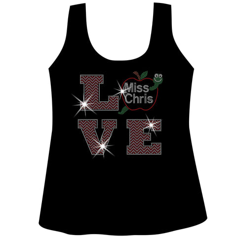 Image of Personalized LOVE Teacher Ladies Holographic Spangle Bling Short Sleeve V-Neck, Long Sleeve V-Neck, Racerback Tank, Unisex Hooded Sweatshirt, Unisex Short Sleeve Crew Neck, Unisex Long Sleeve Crew Neck-LS Shirt, SS Shirt, Racerback tank and hoodie-Becky's Boutique-XS-Racerback Tank-Beckys-Boutique.com