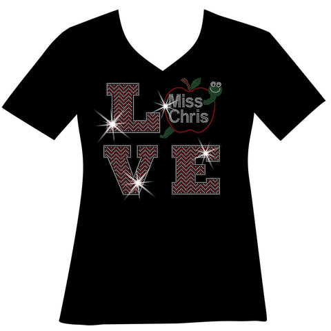 Personalized LOVE Teacher Ladies Holographic Spangle Bling Short Sleeve V-Neck, Long Sleeve V-Neck, Racerback Tank, Unisex Hooded Sweatshirt, Unisex Short Sleeve Crew Neck, Unisex Long Sleeve Crew Neck-LS Shirt, SS Shirt, Racerback tank and hoodie-Becky's Boutique-XS-Short Sleeve V-Neck-Beckys-Boutique.com
