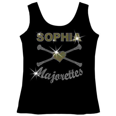 Personalized Majorettes Twirling Shirt Youth Short Sleeve Crew Neck,Long Sleeve Crew Neck, Girls Tank Top, Youth Hooded Sweatshirt-Youth LS, SS, tank and Hoodie-Becky's Boutique-XS-Girls Tank Top-Beckys-Boutique.com