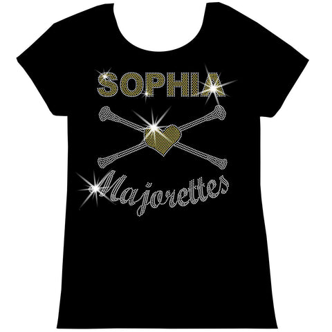 Personalized Majorettes Twirling Shirt Youth Short Sleeve Crew Neck,Long Sleeve Crew Neck, Girls Tank Top, Youth Hooded Sweatshirt-Youth LS, SS, tank and Hoodie-Becky's Boutique-XS-Short Sleeve Crew Neck-Beckys-Boutique.com