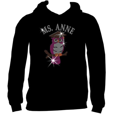 Personalized Teacher Owl, Ladies Holographic Spangle Bling Short Sleeve V-Neck, Long Sleeve V-Neck, Racerback Tank, Unisex Hooded Sweatshirt, Unisex Short Sleeve Crew Neck, Unisex Long Sleeve Crew Neck-LS Shirt, SS Shirt, Racerback tank and hoodie-Becky's Boutique-XS-Unisex Hooded Sweatshirt-Beckys-Boutique.com