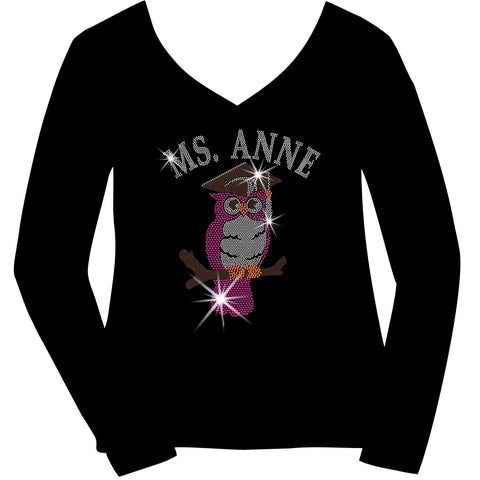 Image of Personalized Teacher Owl, Ladies Holographic Spangle Bling Short Sleeve V-Neck, Long Sleeve V-Neck, Racerback Tank, Unisex Hooded Sweatshirt, Unisex Short Sleeve Crew Neck, Unisex Long Sleeve Crew Neck-LS Shirt, SS Shirt, Racerback tank and hoodie-Becky's Boutique-XS-Long Sleeve V-Neck-Beckys-Boutique.com