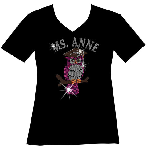 Image of Personalized Teacher Owl, Ladies Holographic Spangle Bling Short Sleeve V-Neck, Long Sleeve V-Neck, Racerback Tank, Unisex Hooded Sweatshirt, Unisex Short Sleeve Crew Neck, Unisex Long Sleeve Crew Neck-LS Shirt, SS Shirt, Racerback tank and hoodie-Becky's Boutique-XS-Short Sleeve V-Neck-Beckys-Boutique.com