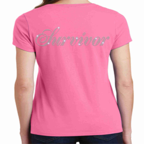 Pink Butterfly - Breast Cancer Awareness - Ladies Short Sleeve V-neck Shirt Ladies Short Sleeve V-neck Becky's Boutique