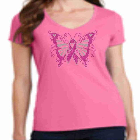 Image of Pink Butterfly - Breast Cancer Awareness - Ladies Short Sleeve V-neck Shirt Ladies Short Sleeve V-neck Becky's Boutique Extra Small
