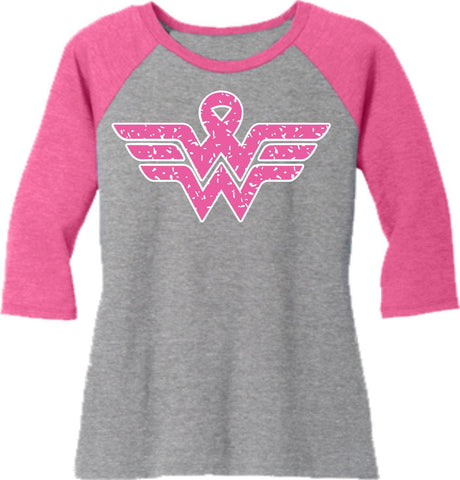 Image of Pink Ribbon Sign - Western ladies 3/4 Sleeve Raglan Shirt-3-4 sleeve-Becky's Boutique-Extra Small-Beckys-Boutique.com