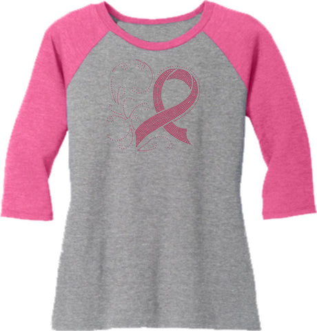 Image of Pink Ribbon - Western ladies 3/4 Sleeve Raglan Shirt-3-4 sleeve-Becky's Boutique-Extra Small-Beckys-Boutique.com