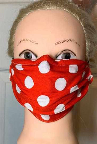 Image of Polka Dot Face Mask, Adult and Child Sizes, For dust, travel, pet grooming, gardening and medical. Washable, Reusable with adjustable nose piece Face Mask Beckys-Boutique.com Adult 2-Red/White Polka Dots