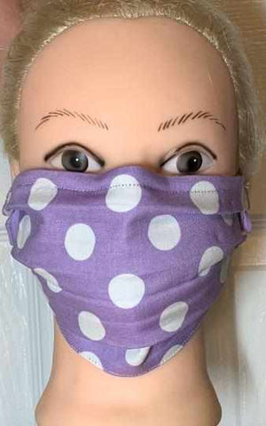 Polka Dot Face Mask, Adult and Child Sizes, For dust, travel, pet grooming, gardening and medical. Washable, Reusable with adjustable nose piece Face Mask Beckys-Boutique.com Adult 4-Lavender/White Polka Dots