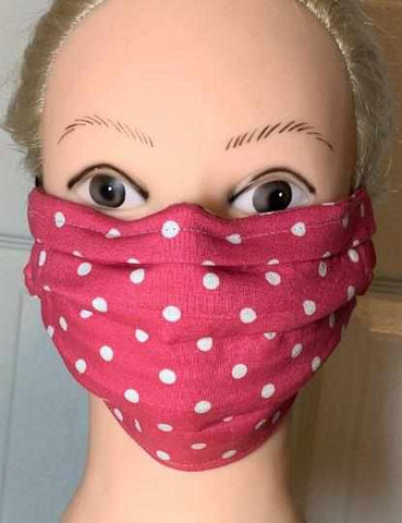 Image of Polka Dot Face Mask, Adult and Child Sizes, For dust, travel, pet grooming, gardening and medical. Washable, Reusable with adjustable nose piece Face Mask Beckys-Boutique.com Adult 5-Hot Pink/White Polka Dots