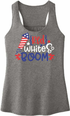 Red, White, Boom - Ladies Racerback Tank Ladies Tank Beckys-Boutique.com Extra Small