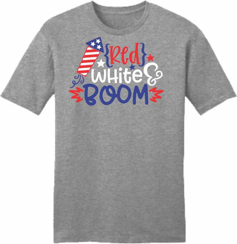 Red, White, Boom - Ladies Short Sleeve Crew-Neck Shirt Short Sleeve Crew Neck Beckys-Boutique.com Extra Small
