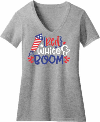 Red, White, Boom - Ladies Short Sleeve V-Neck Shirt Short Sleeve V-Neck Beckys-Boutique.com Extra Small