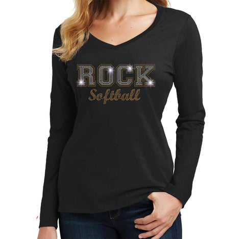 ROCK Softball Spangle Bling shirt - Ladies Long Sleeve V-Neck Ladies Long Sleeve V-neck Becky`s Boutique Extra Small