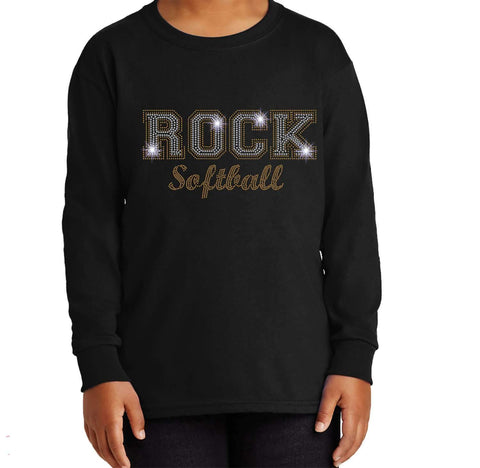 ROCK Softball Spangle Bling shirt - Youth Long Sleeve Youth Long Sleeve Becky`s Boutique Extra Small