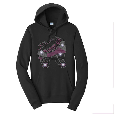 Roller Skate Spangle Rhinestone Bling shirt - Hoodie Sweatshirt Hoodie Sweatshirt Becky`s Boutique Extra Small