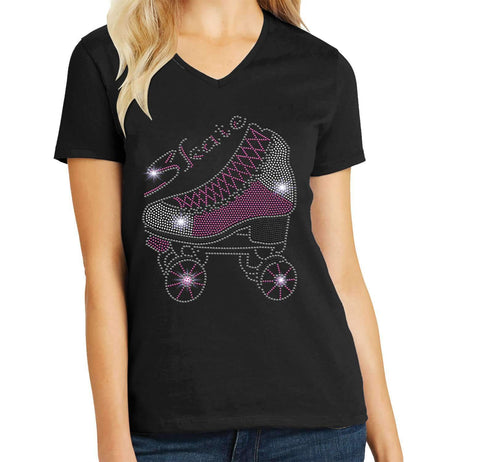 Roller Skate Spangle Rhinestone Bling shirt - available in adult, youth, short, long sleeve, tank or hoodie sweatshirt Hobbies Becky's Boutique Womens Extra-small Womens short sleeve V-neck