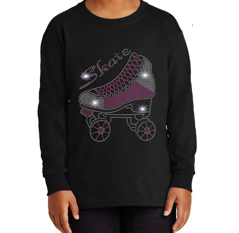 Roller Skate Spangle Rhinestone Bling shirt - Youth Long Sleeve Youth Long Sleeve Becky`s Boutique Extra Small