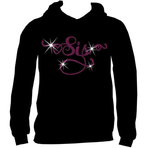 Sis Holographic Sparkle Spangle Bling- Ladies Short Sleeve V-Neck, Long Sleeve V-Neck, Racerback Tank, Unisex hooded Sweatshirt-Long Sleeve V Neck, Short Sleeve V -Neck, Hoodie Sweatshirt-Becky's Boutique-XS-Unisex Hooded Sweatshirt-Beckys-Boutique.com