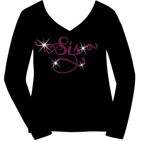Sis Holographic Sparkle Spangle Bling- Ladies Short Sleeve V-Neck, Long Sleeve V-Neck, Racerback Tank, Unisex hooded Sweatshirt-Long Sleeve V Neck, Short Sleeve V -Neck, Hoodie Sweatshirt-Becky's Boutique-XS-Long Sleeve V-Neck-Beckys-Boutique.com