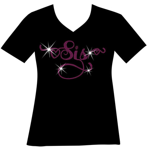 Sis Holographic Sparkle Spangle Bling- Ladies Short Sleeve V-Neck, Long Sleeve V-Neck, Racerback Tank, Unisex hooded Sweatshirt-Long Sleeve V Neck, Short Sleeve V -Neck, Hoodie Sweatshirt-Becky's Boutique-XS-Short Sleeve V-Neck-Beckys-Boutique.com