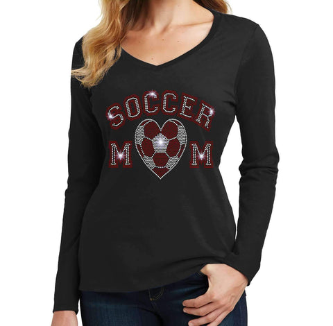 Soccer Mom with heart Soccer ball-Team Pride Spangle Bling shirt - Ladies Long Sleeve V-Neck Ladies Long Sleeve V-neck Becky`s Boutique Extra Small