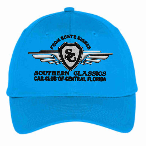 Southern Classics Car Club Hat- white, black, teal and gray Hat Becky's Boutique Teal