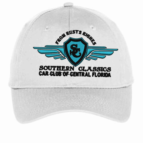 Southern Classics Car Club Hat- white, black, teal and gray Hat Becky's Boutique White