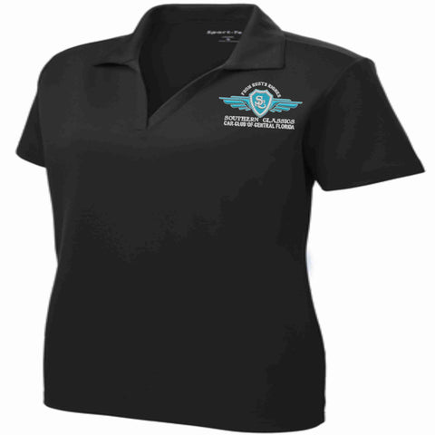 Southern Classics Car Club LADIES Micro Mesh Polo- Black polo Becky's Boutique