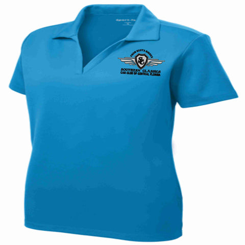 Southern Classics Car Club LADIES Micro Mesh Polo- Teal polo Becky's Boutique