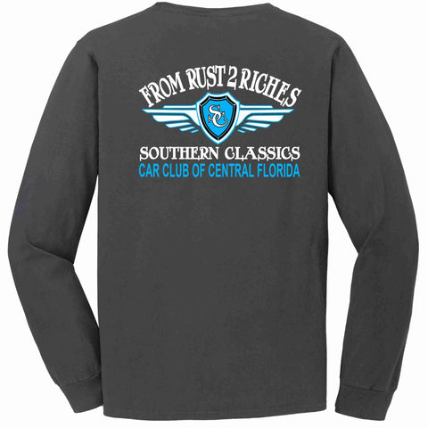 Image of Southern Classics Car Club Long Sleeve POCKET T-shirt Dark Gray Adult Long Sleeve Pocket T-shirt Becky's Boutique