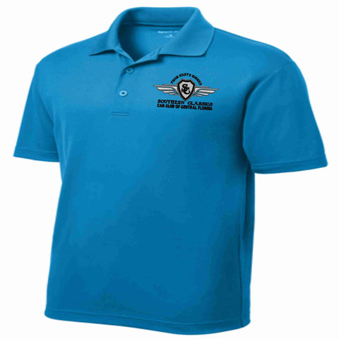 Southern Classics Car Club MENS Micro Mesh Polo- Teal polo Becky's Boutique