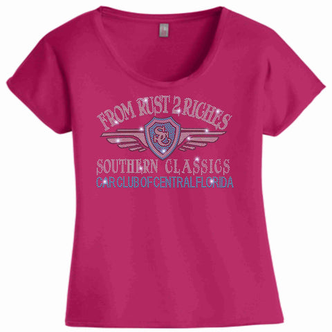Southern Classics Car Club of Central Florida Ladies- Flowy Relaxed Shirt Flowy Shirt Becky's Boutique Extra Small Pink