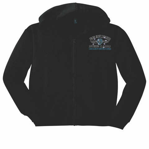 Southern Classics Car Club of Central Florida -Zip Up Hoodie Black Zip Up Hoodie Becky's Boutique Small
