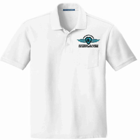 Southern Classics Car Club Short Sleeve POCKET Polo- White Pocket Polo Becky's Boutique