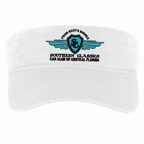 Southern Classics Car Club Visor-white, teal, black, or pink Visor Becky's Boutique
