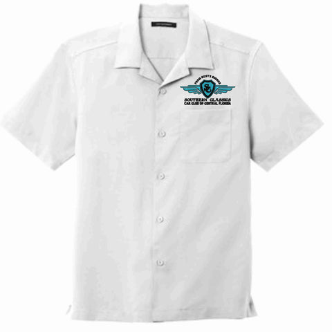 Image of Southern Classics Cars Club- Mens Button Down Camp Shirt-White Button Down Dress Shirt Becky's Boutique